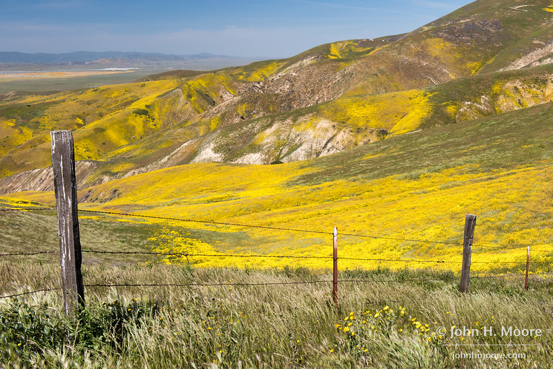 Looking down towards Soda Lake in the valley of Carrizo Plain National Monument from high in the Temblor Mountains.