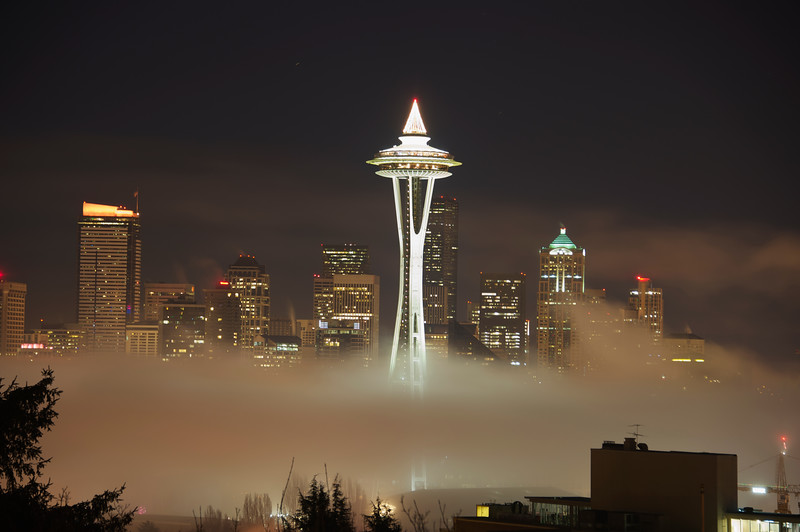 Space Needle emerges from the fog.