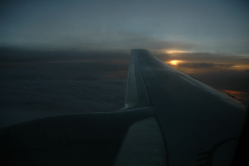 Somewhere over the Atlantic, near Cuba. Sunset from my flight to Barbados.