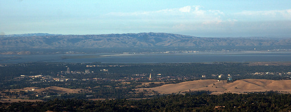 View of Silicon Valley with Stanford University tower near the middle of the photo