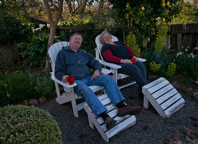 Relaxing on our little patio at the Beltane Ranch B&B