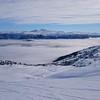 Utsikt mot Vossevangen under skodda