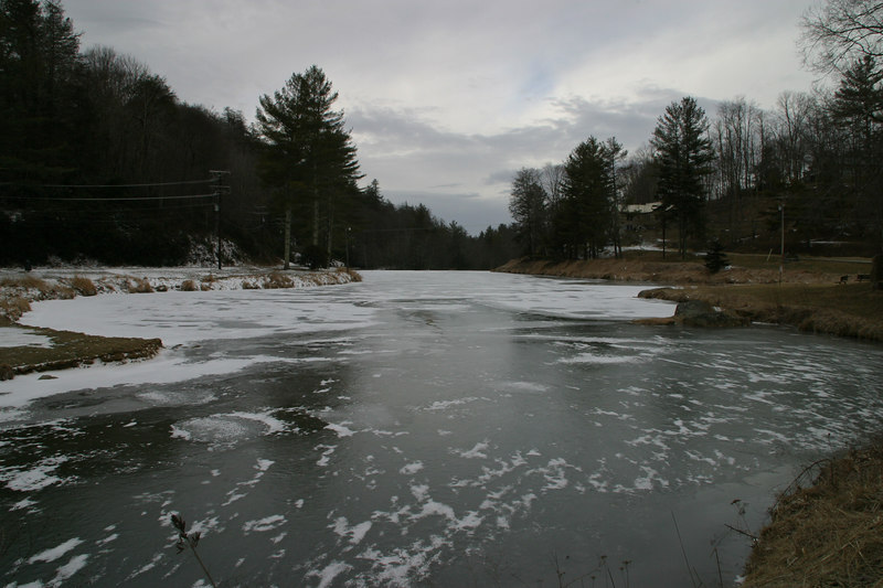 Just outside the town of Banner Elk, I found this pond that was frozen over.