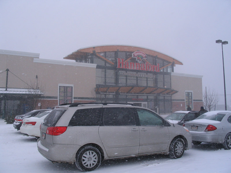 The snow was coming down hard in Lowell, MA.  Would you believe they had plowed the parking lot CLEAN only 2 hours before I took this?