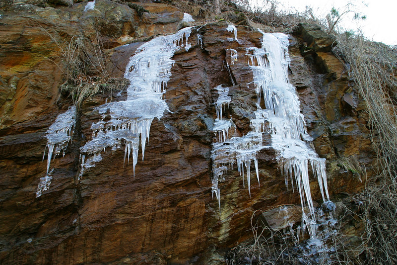 The water naturally seeps from the rocks, but during the winter, it freezes into all sorts of cool shapes.  This is also along Burnt Mountain Road, about 1.5 miles outside of Jasper.