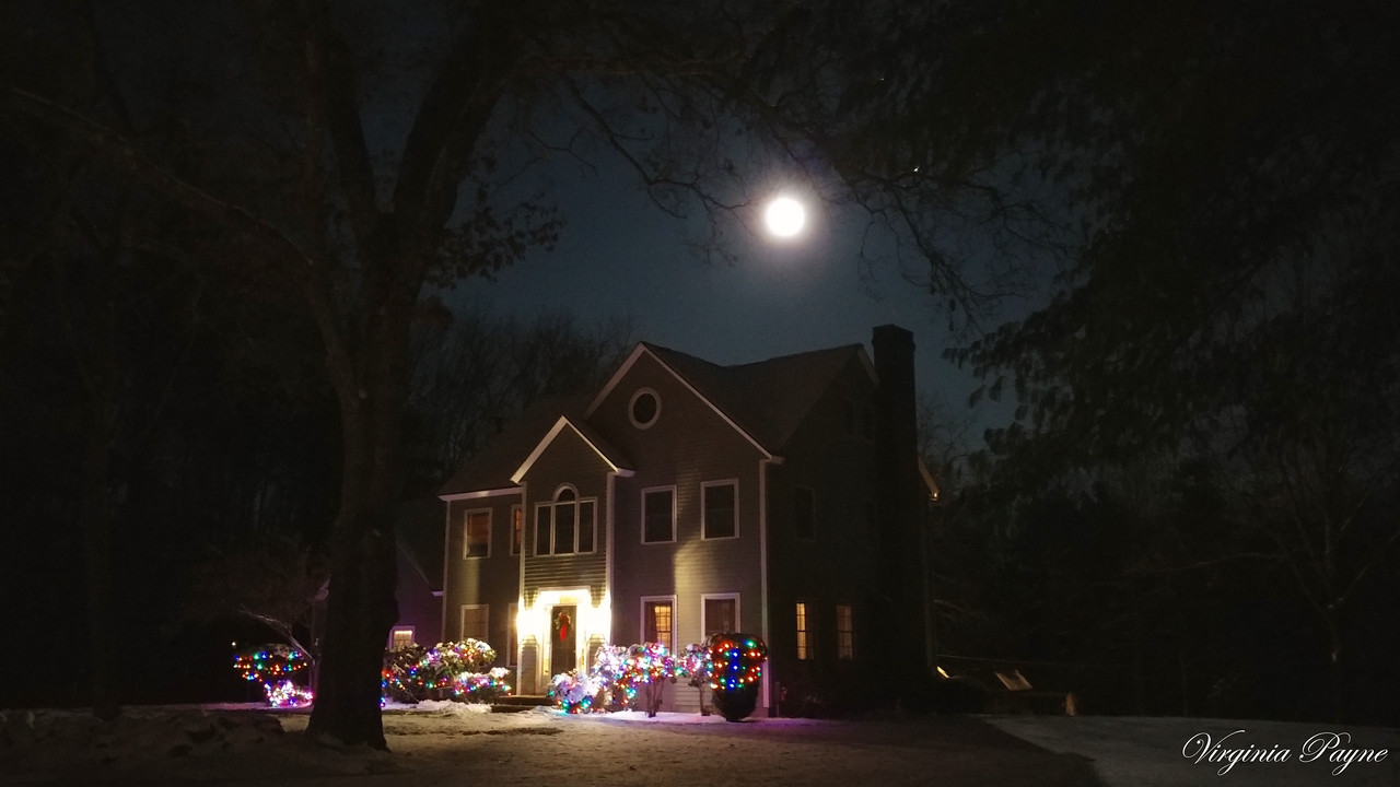 The first Super Moon of the year! Photo taken in our neighborhood on Jan 1st around 6:30pm.