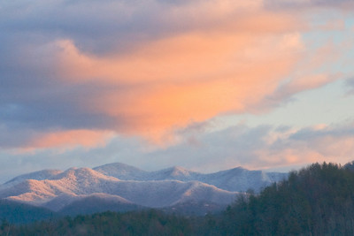 Sunrise over a fresh snowfall in the Great Smoky Mountains National Park