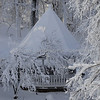 Gazebo covered in snow