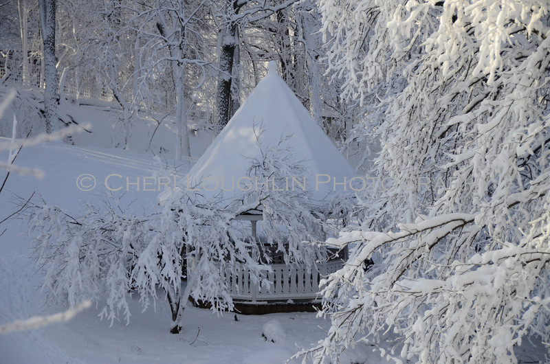 Snow covered gazebo tucked in the trees