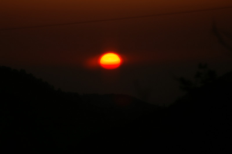 May 16, 2007 about 5:45am.<br /> Hard to see this but the sun is now rising north of the notch of our valley to the east!