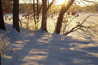light on icy morning