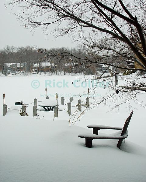 Lake Thoreau, Reston, Virgina, USA.  Snow coats the lake and shores.  © Rick Collier<br /> <br /> <br /> Lake Thoreau Reston Virginia USA snow snowfall white winter ice frozen cold