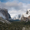 Clearing winter storm with a dusting of snow on Yosemite Valley