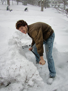 Riley had to shovel out on his  own...the old fashion way!