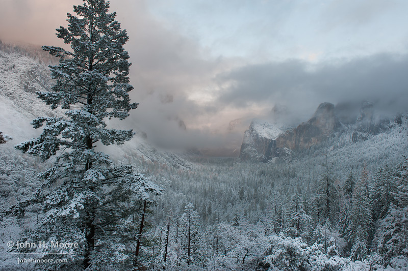 Tunnel View at Yosemite National Park after a snowstorm.