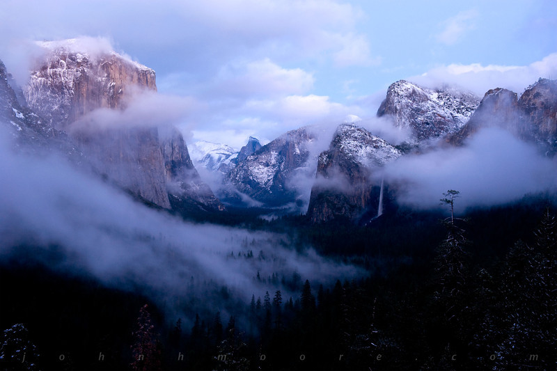 Yosemite Valley from Tunnel View during sunset right after a winter storm