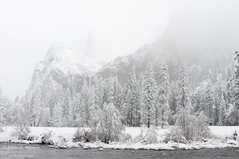 Bridalveil Falls during a snowstorm.  Yosemite National Park.
