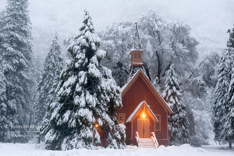 Yosemite Valley Chapel during a winter snowstorm