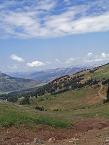 looking north into the Beartooth Wilderness, skies were hazy from wildfires burning in Missoula