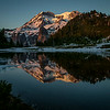 Reflection in Aurora Lake of Mt Rainier