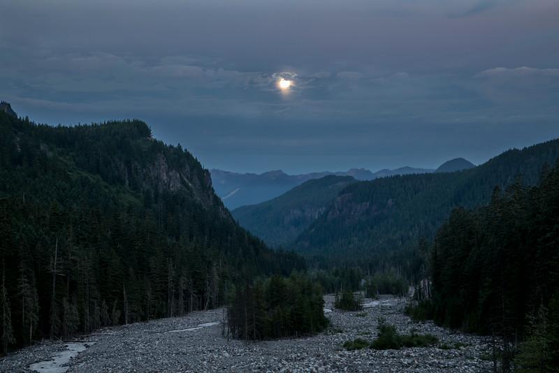 Full Moon setting over Nasqually River, Mt Rainier National Park