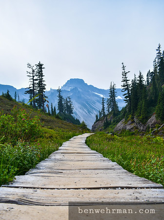 Wooden path in the mountains