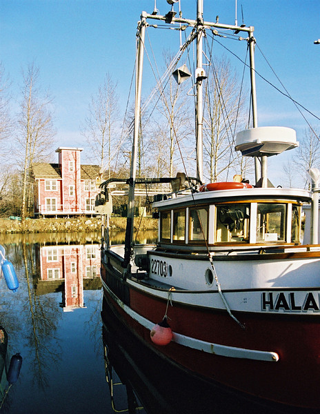 Halary, a classic west coast troller with the wharfinger's building in the background. Ladner