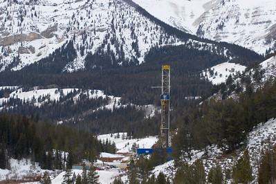 Natural gas drill rig in the Wyoming Range, Big Piney, WY