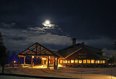Yellowstone Winter Snow Lodge at Old Faithful. It is the only hotel open in this part of the park in the winter. You can also stay at Mammoth, which is in the north part of the park in the winter where one of the hotels is open up there. This was a timed exposure taken  with the full moon. If you notice in the upper right clear part of the sky you can see the constellation Orion in the sky.