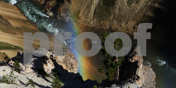 A rainbow caused by the spray of the Lower Falls of the Yellowstone River.