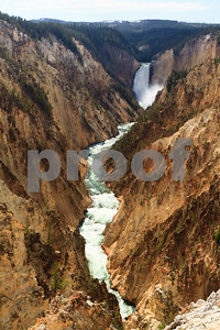 The Lower Falls of the Yellowstone River in the Grand Canyon of Yellowstone.
