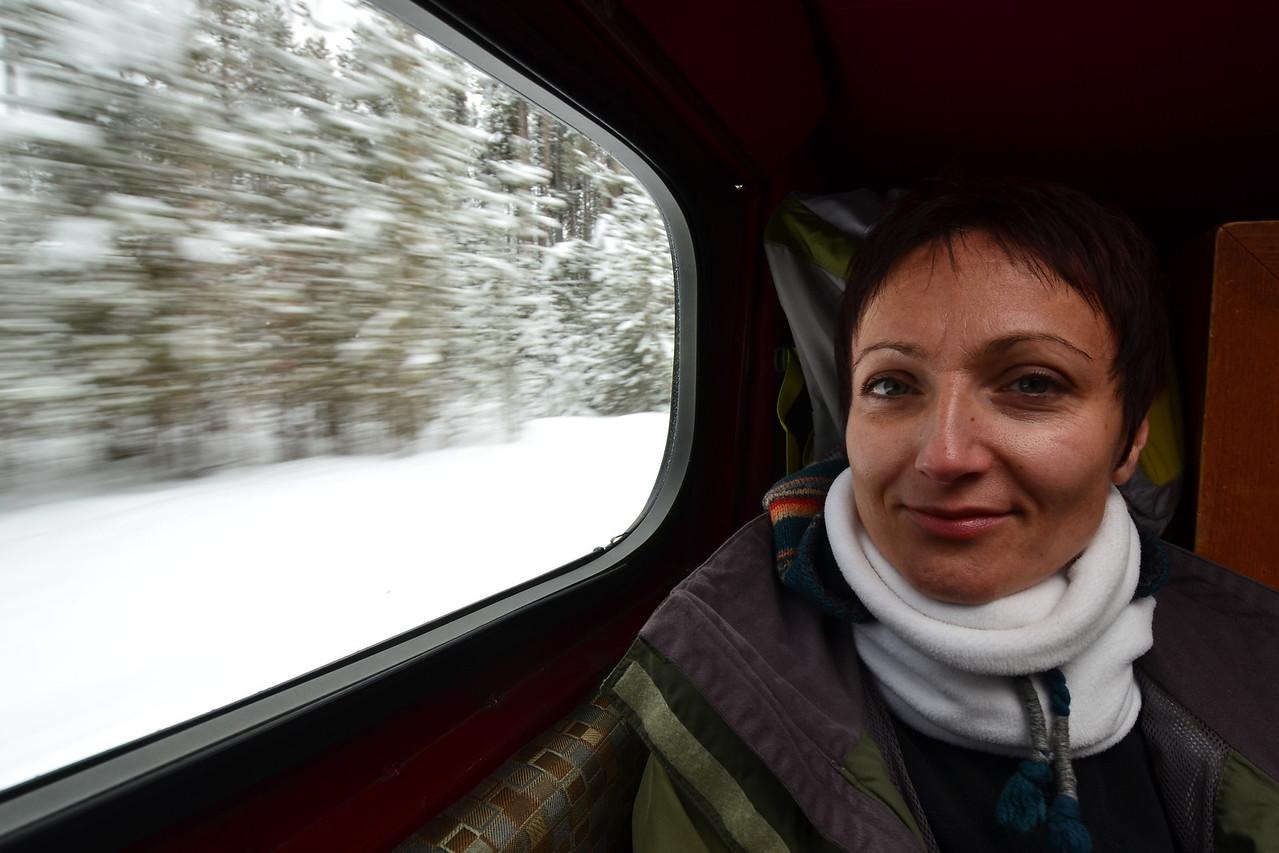 Aniko in the snowcoach
