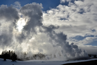 Steam and clouds at Old Faithful