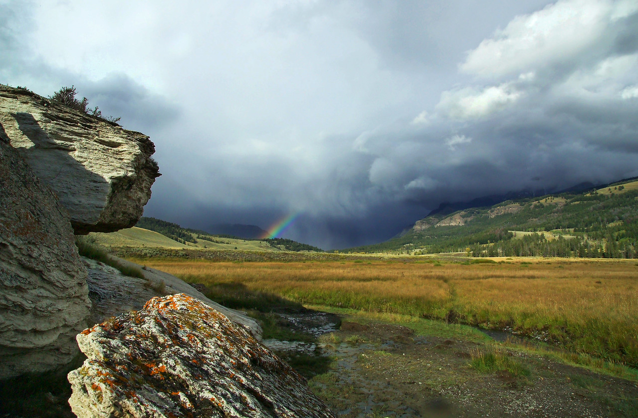 rainbow and soda butte clearing snowstorm