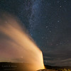 Old Faithful Geyser erupting at night.  Yellowstone National Park, Wyoming, USA.