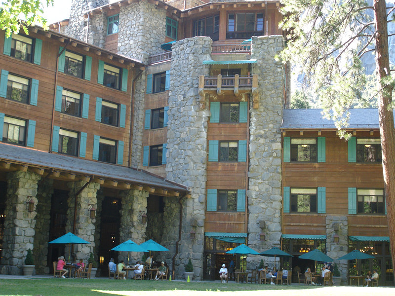 The back side of the historic Ahwahnee Hotel.