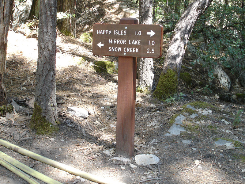 Beginning of trail to Mirror Lake directly beneath Half Dome.
