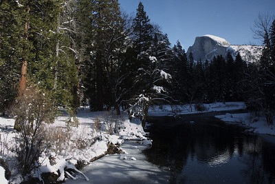 Half Dome from Sentinel Bridge.  No rafting in the Merced today ... brrrrrrr