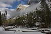 Mirror lake lies frozen below the splendor of the Yosemite Valley.