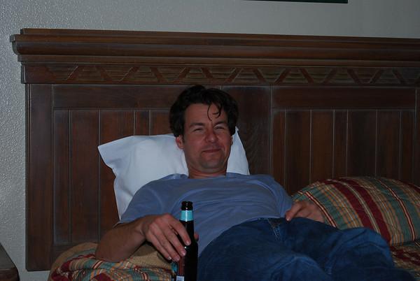 Matt enjoys a beer.