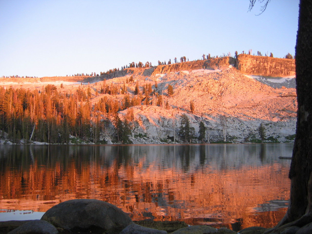 Ostrander Lake at sunset.