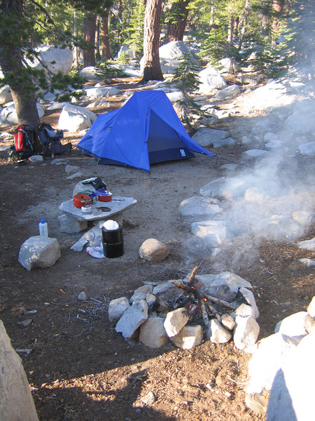 Our campsite, complete with pre-made table and chairs.