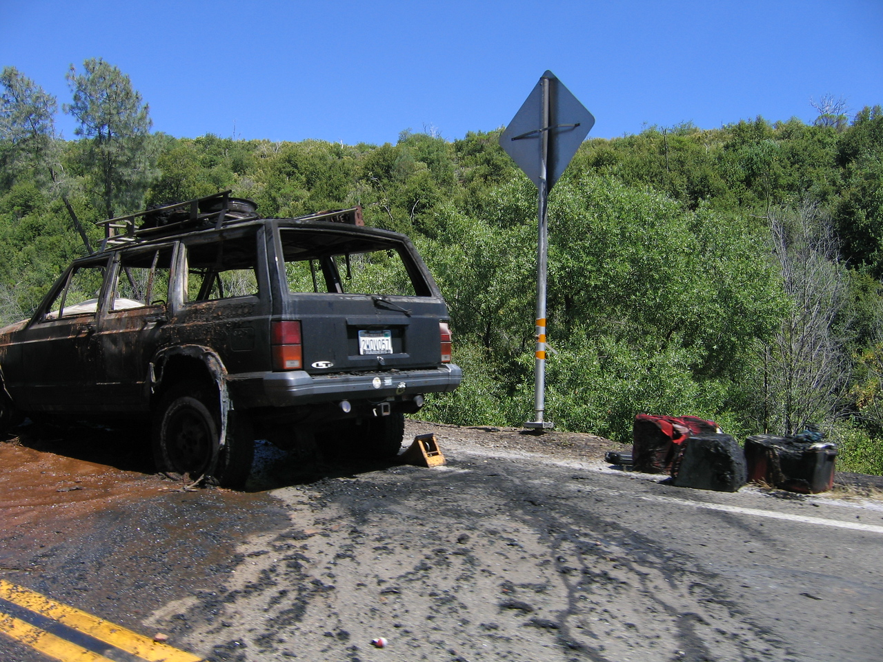 Why you should turn off your a/c when driving up the mountain. This is not our car, thankfully.