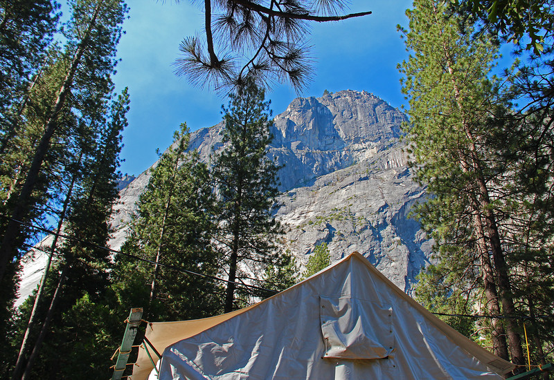 Looking up at Glacier Point from the back of one of our two tent cabins.