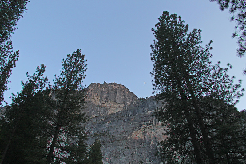 Looking up at Glacier Point from our front doors.