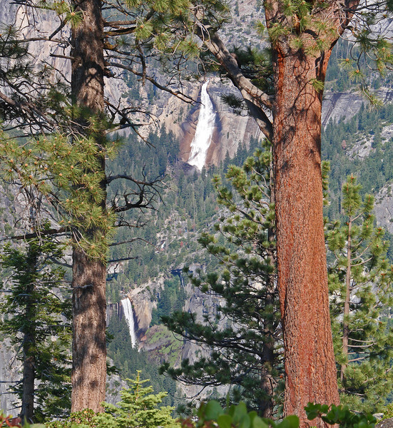Nevada Falls, top, and Vernal Falls from near Glacier Point.