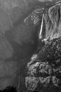 All three sections of Yosemite Falls from the top of the 4 Mile Trail.