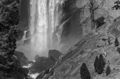 The base of Vernal Fall as hikers continue their journey.