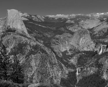 Half Dome, Vernal and Nevada Fall, and Liberty Cap from Washburn Point.