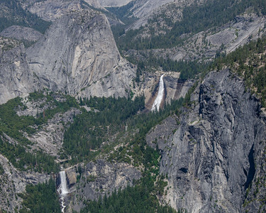 Vernal Fall, Liberty Cap and Nevada Fall.